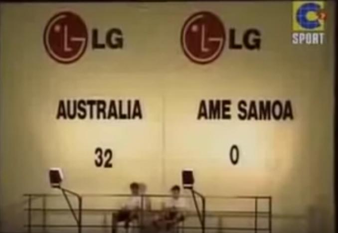 El marcador lució equivocadamente el 32-0 en el Australia vs Samoa Americana - Odio Eterno Al Fútbol Moderno
