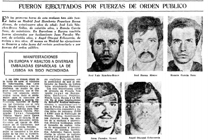 Fueron las últimas ejecuciones del régimen franquista - Odio Eterno Al Fútbol Moderno