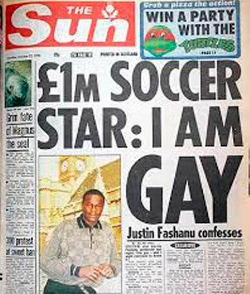 Portada de The Sun con la exclusiva de Justin Fashanu - Odio Eterno Al Fútbol Moderno