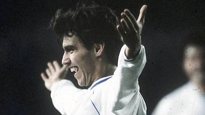 Santi Aragón celebrando un gol con el Real Zaragoza