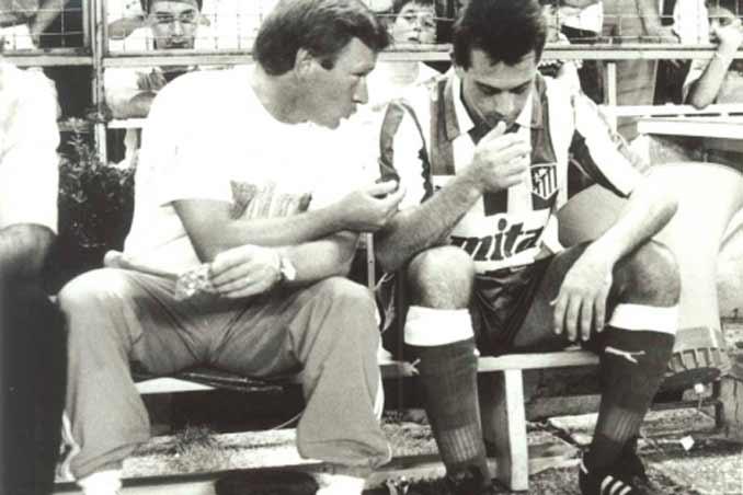 Javier Clemente y Pizo Gómez en el Atlético de Madrid
