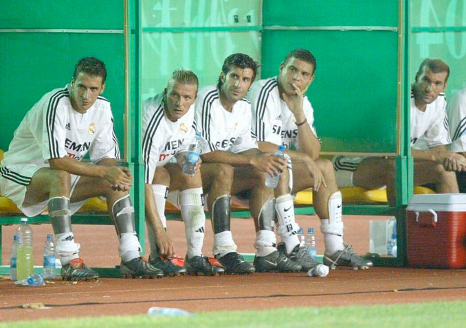 De izquierda a derecha: Raúl, Beckham, Figo, Ronaldo y Zidane