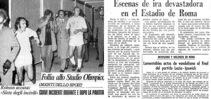 Un periódico recoge la noticia sobre la batalla campal en el Lazio vs Ipswich Town en 1973