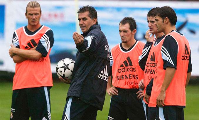 Carlos Queiroz durante su etapa como entrenador del Real Madrid