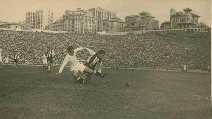 Partido entre el Real Madrid y el Alcoyano en la temporada 47-48