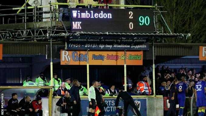 Marcador en el enfrentamiento entre Wimbledon AFC y Milton Keynes Dons