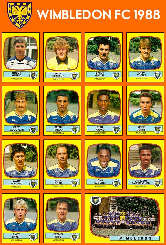 Plantilla del Wimbledon FC, la Crazy Gang, en 1988