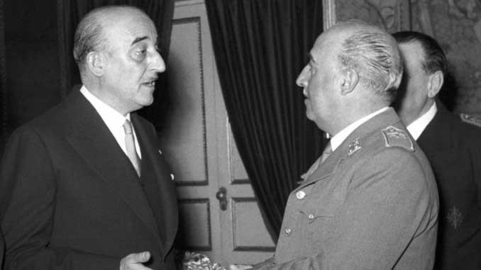 El presidente culé Martí Carretó en una audiencia con Franco