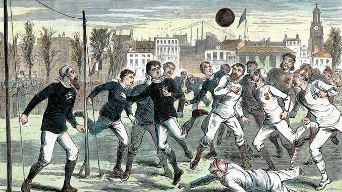 Ilustración del primer encuentro internacional de la historia del fútbol