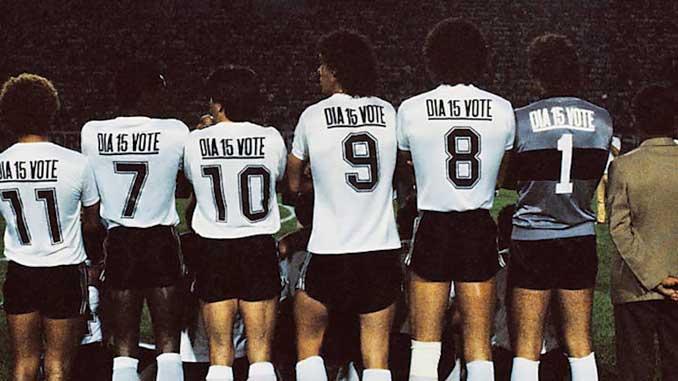 Esta es la camiseta que lucieron los jugadores de Corinthians antes de las elecciones de 1982