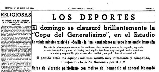 Noticia en prensa sobre la final del Torneo Nacional de Fútbol de 1939