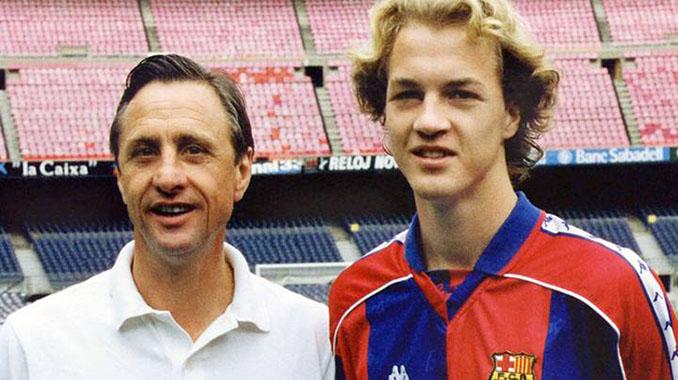 Johan Cruyff y Jordi Cruyff en el Camp Nou