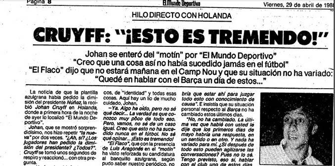 Declaraciones de Cruyff sobre el Motín del Hesperia - Odio Eterno Al Fútbol Moderno