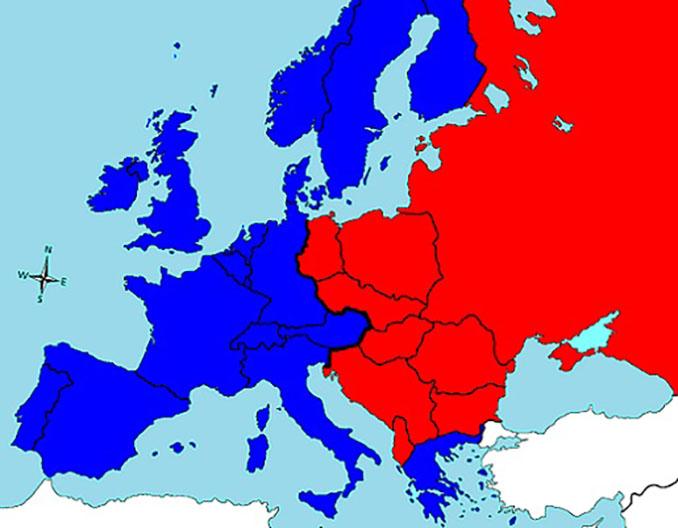 """Mapa de influencias tras la II Guerra Mundial, dividido por el""""Telón de Acero"""" - Odio Eterno Al Fútbol Moderno"""