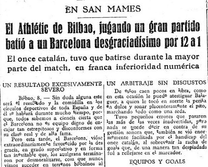 Crónica de la mayor goleada de la Liga en un diario de la época - Odio Eterno Al Fútbol Moderno