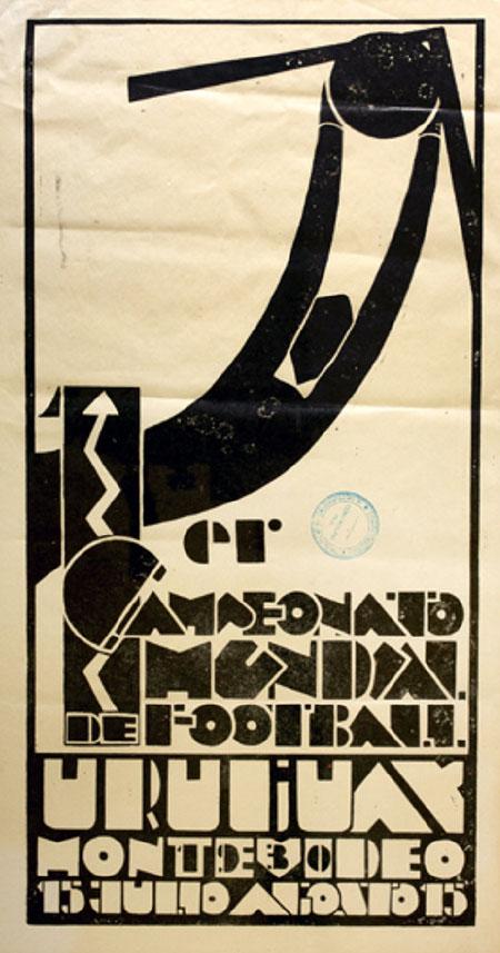 Cartel de la primera Copa del Mundo de fútbol Uruguay 1930 - Odio Eterno Al Fútbol Moderno