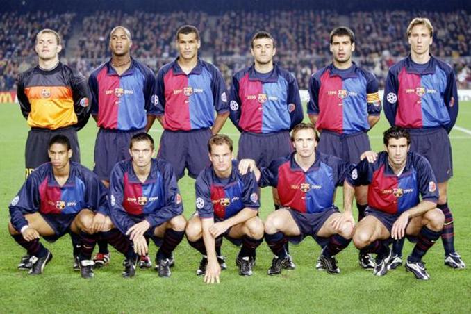 Alineación del FC. Barcelona en un encuentro de la Liga 99-00 - Odio Eterno Al Fútbol Moderno