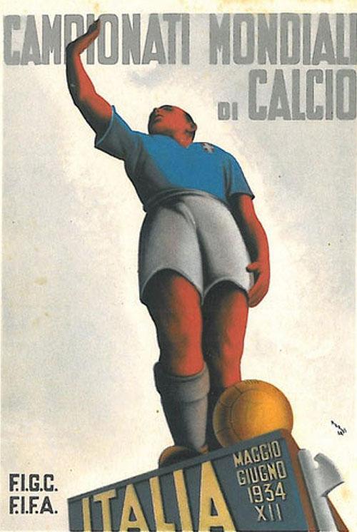 Cartel publicitario del Mundial 1934 celebrado en Italia - Odio Eterno Al Fútbol Moderno
