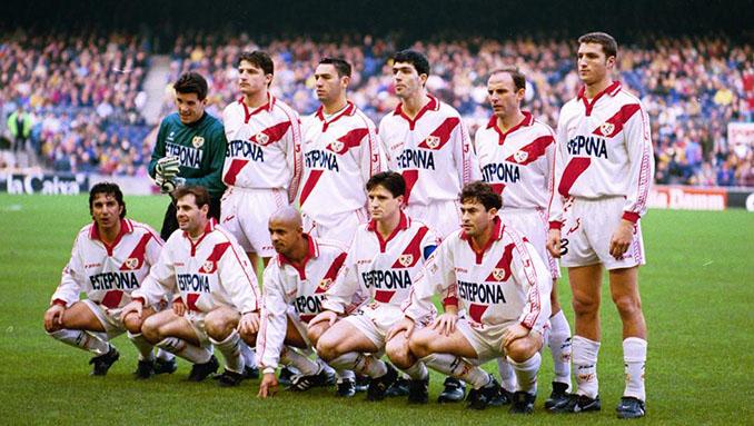 Rayo Vallecano 96-97 luciendo publicidad de Estepona, ciudad gobernada por Jesús Gil (hijo) - Odio Eterno Al Fútbol Moderno