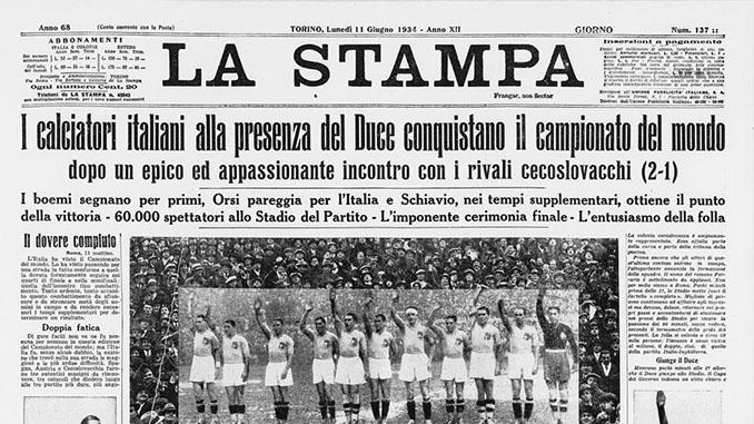 Diario con la noticia de la victoria italiana en el Mundial 1934 - Odio Eterno Al Fútbol Moderno