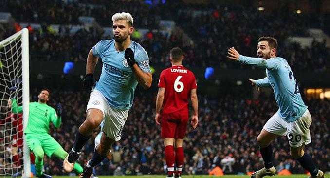 Agüero marcó un de los goles en la victoria del Manchester City ante el Liverpool en enero de 2019 - Odio Eterno Al Fútbol Moderno