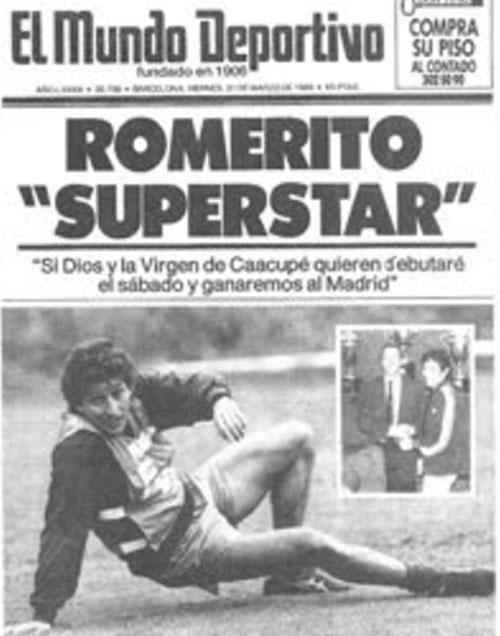 Portada de Mundo Deportivo anunciando el fichaje de Romerito - Odio Eterno Al Fútbol Moderno