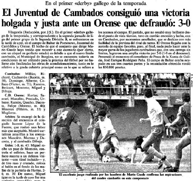 Crónica de un encuentro de la época entre Juventud Cambados y Ourense - Odio Eterno Al Fútbol Moderno