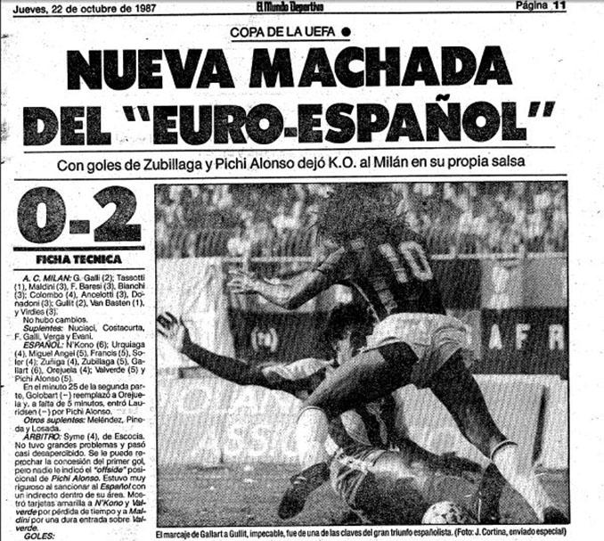 Mundo Deportivo se hace eco de la victoria del RCD Espanyol ante el AC Milan - Odio Eterno Al Fútbol Moderno