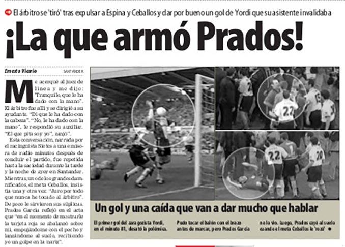 Un periódico se hace eco de la actuación de Prados García - Odio Eterno Al Fútbol Moderno