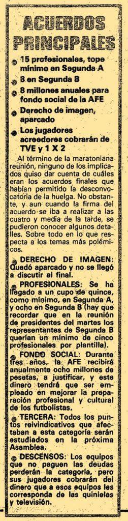 Acuerdo tras la huelga de futbolistas de 1984 - Odio Eterno Al Fútbol Moderno