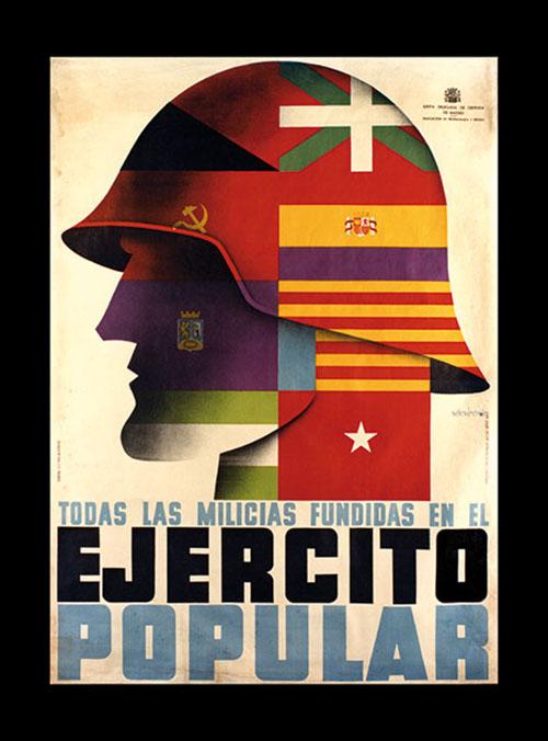 Cartel republicano publicitando el Ejército Popular - Odio Eterno Al Fútbol Moderno