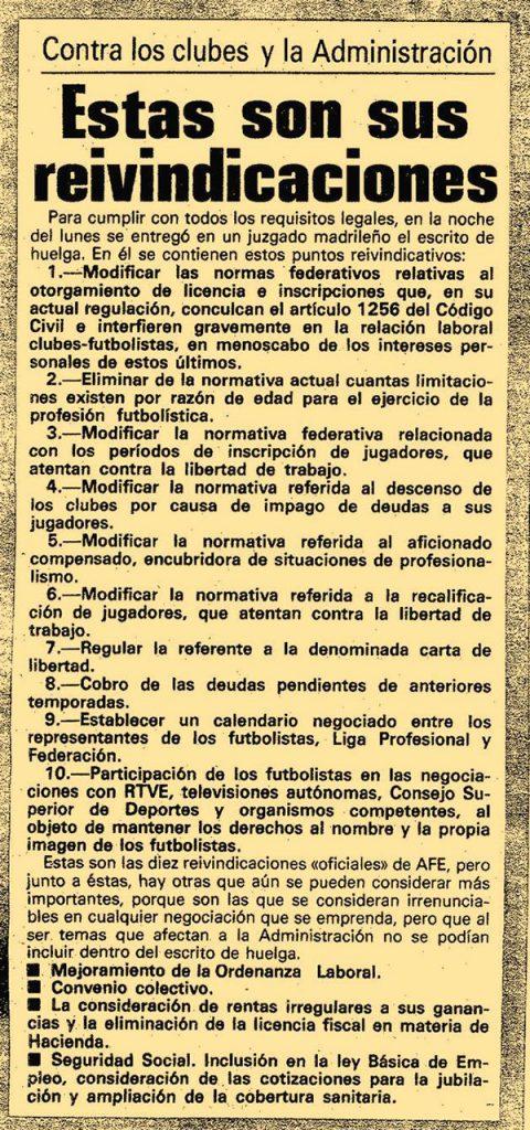 Exigencias de la huelga de futbolistas de 1984 - Odio Eterno Al Fútbol Moderno