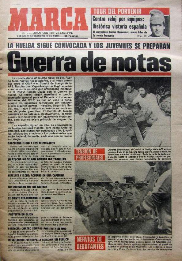 Marca publicó las demandas de la huelga de futbolistas de 1984 - Odio Eterno Al Fútbol Moderno