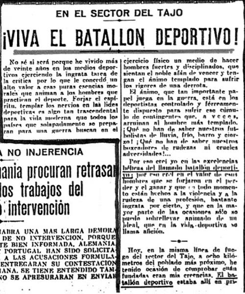 Recorte de prensa sobre el Batallón Deportivo - Odio Eterno Al Fútbol Moderno