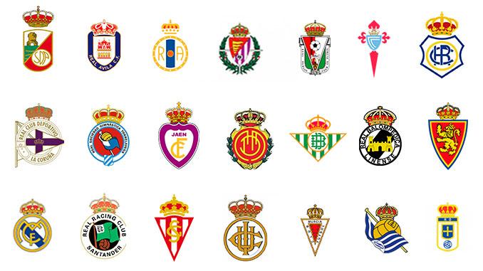Escudos de algunos de los equipos reales españoles - Odio Eterno Al Fútbol Moderno