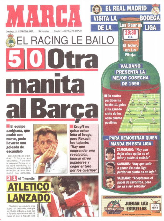 Portada del diario Marca tras la goleada del Racing al Barcelona en El Sardinero - Odio Eterno Al Fútbol Moderno