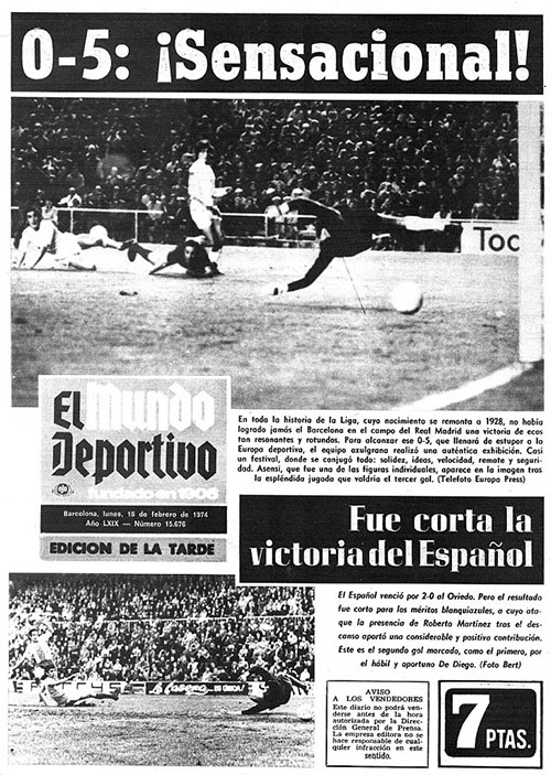 Portada de Mundo Deportivo haciéndose eco del 0-5 en el Clásico de 1974 - Odio Eterno Al Fútbol Moderno