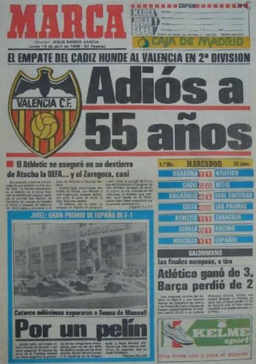 Portada de Marca al día siguiente de consumarse el descenso del Valencia - Odio Eterno Al Fútbol Moderno
