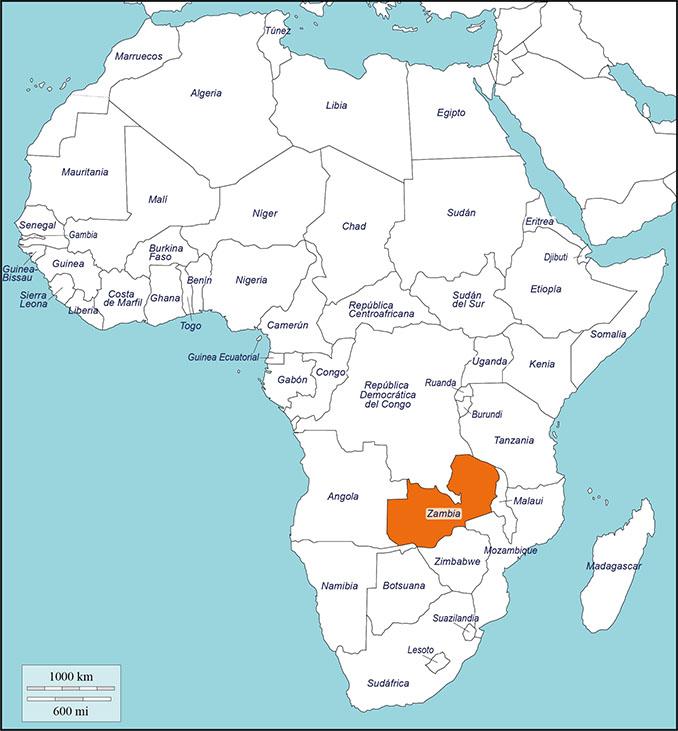 Ubicación de Zambia en el mapa de África - Odio Eterno Al Fútbol Moderno