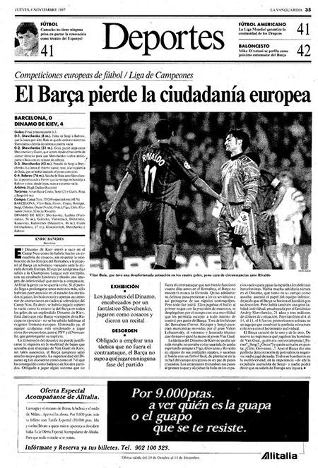 La Vanguardia el día después de la victoria del Dinamo de Kiev sobre el Barcelona - Odio Eterno Al Fútbol Moderno