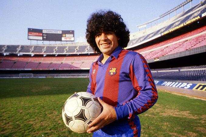 Maradona con la camiseta del FC Barcelona en 1982 - Odio Eterno Al Fútbol Moderno