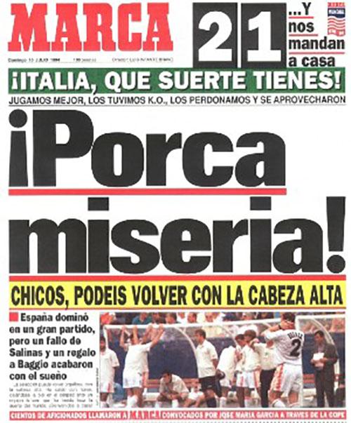 Portada de Marca tras la derrota de España ante Italia en el Mundial '94 - Odio Eterno Al Fútbol Moderno