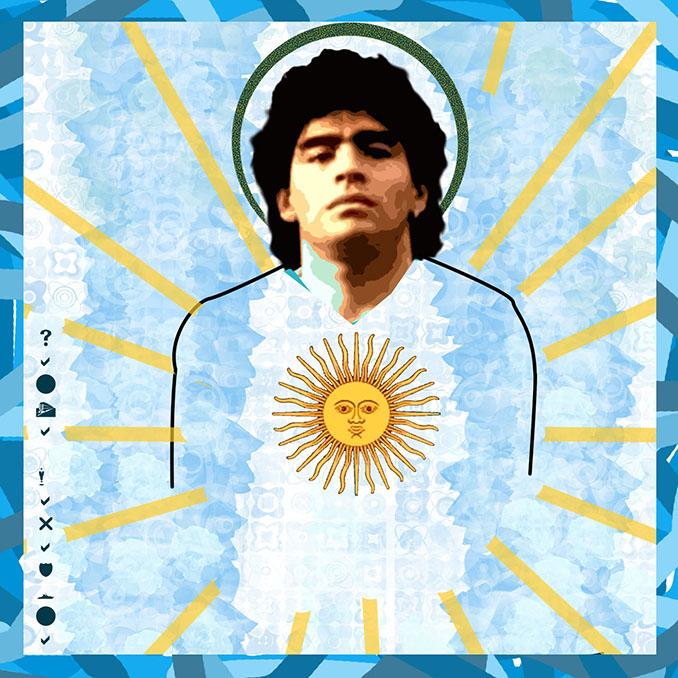 Maradona como Pantocrátor en una representación de la Iglesia Maradoniana - Odio Eterno Al Fútbol Moderno