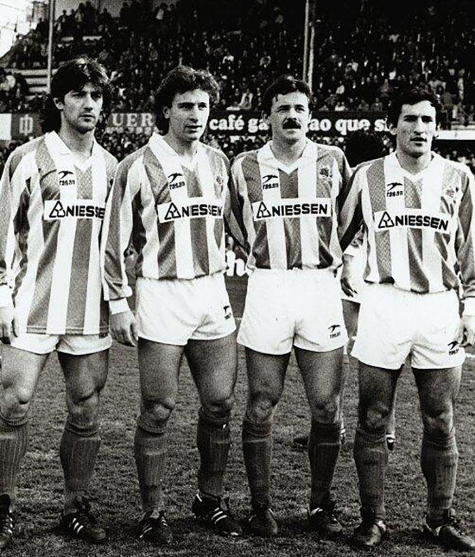 Bakero, Rekarte, Larrañaga y Begiristain con la camiseta de la Real Sociedad - Odio Eterno Al Fútbol Moderno