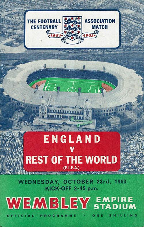 Cartel del partido Inglaterra contra el Resto del mundo de 1963 - Odio Eterno Al Fútbol Moderno