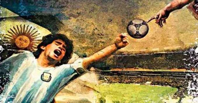Representación de los frescos de la Capilla Sixtina con la figura de Maradona - Odio Eterno Al Fútbol Moderno