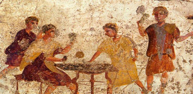 Fresco griego que representa jugadores apostando - Odio Eterno Al Fútbol Moderno