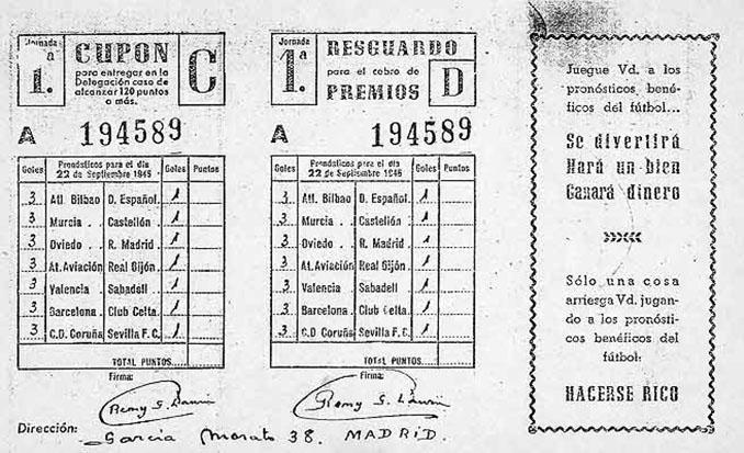 Boleto de la primera quiniela - Odio Eterno Al Fútbol Moderno