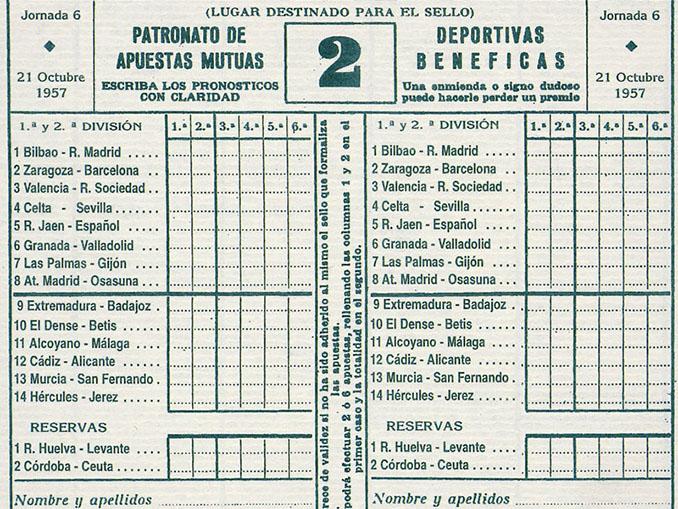 Boleto de la quiniela de 1957 - Odio Eterno Al Fútbol Moderno