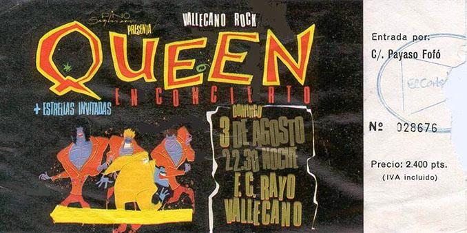 Entrada del concierto de Queen en el Estadio de Vallecas - Odio Eterno Al Fútbol Moderno